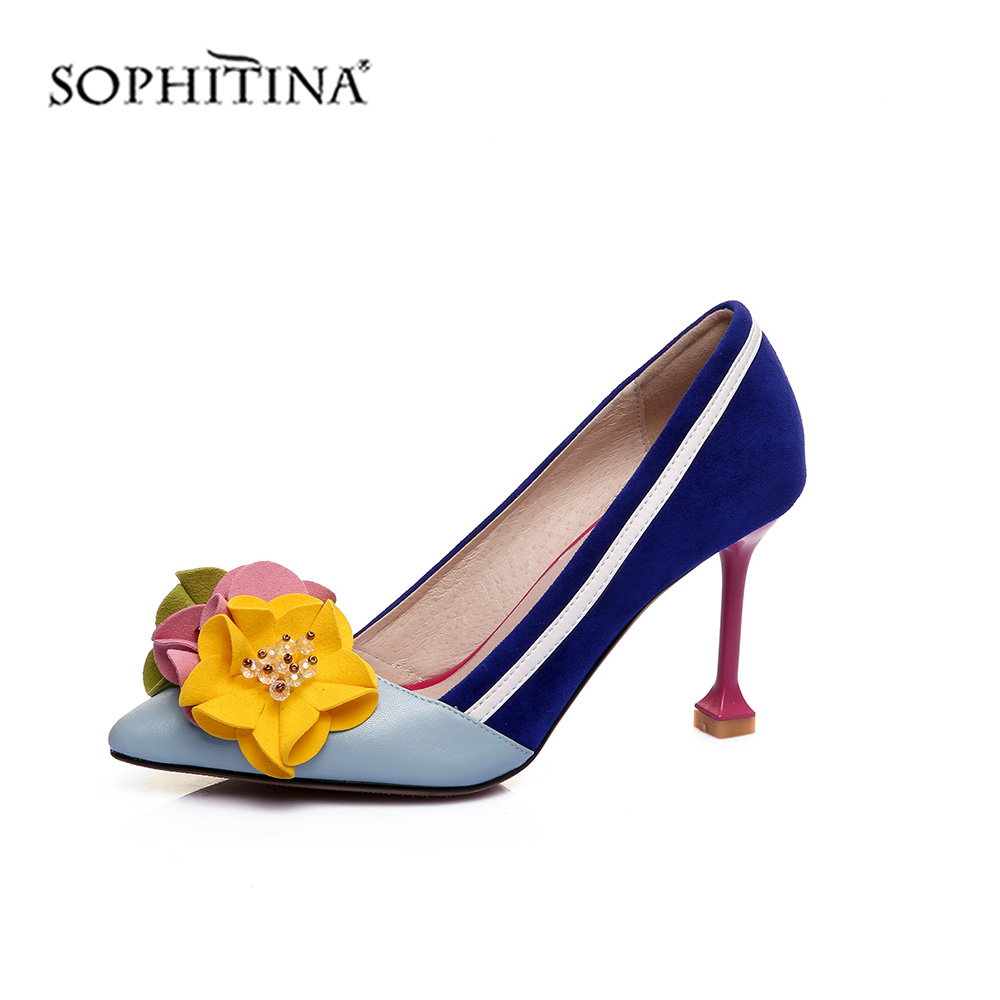 SOPHITINA Fashion Women Pumps Patchwork Design Flower Decoration High Quality Kid Suede Med Heel Shoes Comfortable Pumps MO442
