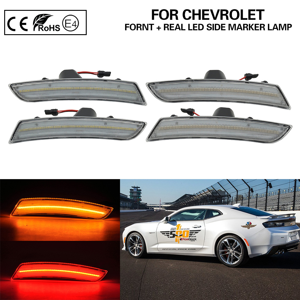 2016-2019 Chevy Camaro Smoked Lens Amber LED Front Side Marker Set Chevrolet