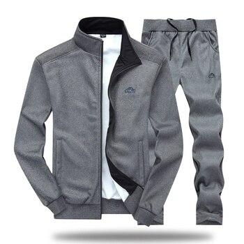 Men Tracksuit Set Polyester Sweatshirt 2020 Spring Sporting Fleece  Jacket + Pants Casual Men's Sports Suit Men's Sportswear 4XL 5
