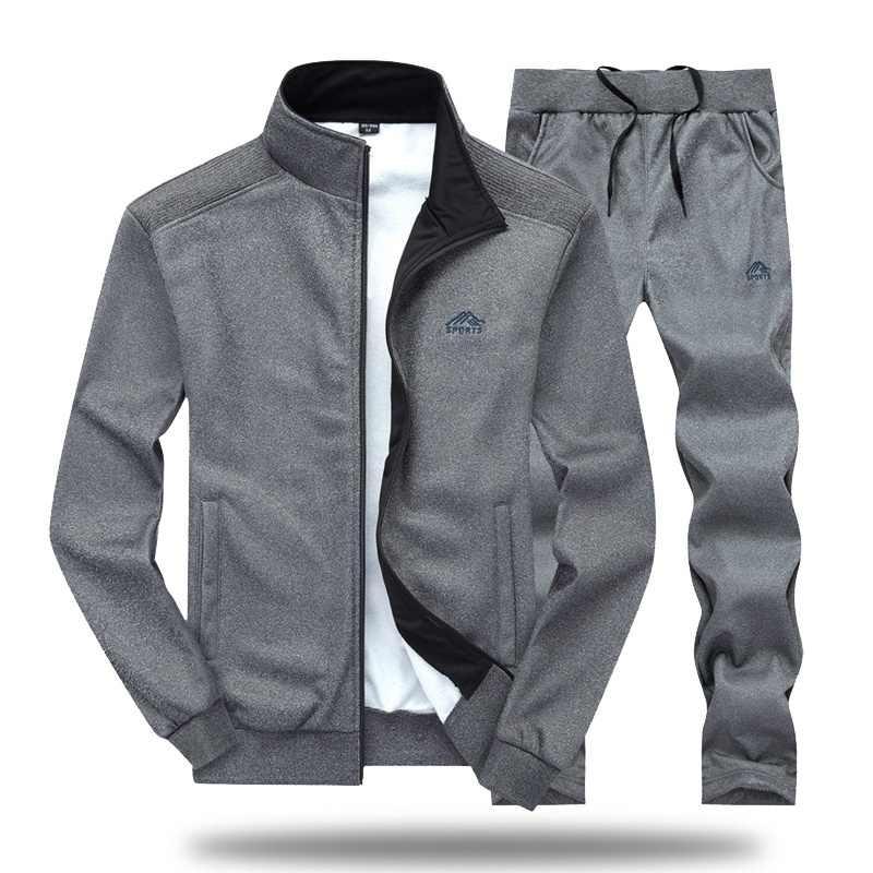 남자 Tracksuit 세트 폴리 에스터 스웨터 2020 봄 스포츠 양 털 자 켓 + 바지 캐주얼 남자 스포츠 정장 남자 스포츠웨어 4XL