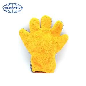 Image 2 - Guante de microfibra para lavado de coche, naranja y gris, forma de La Palma, 29x28x3cm, detalle de inglete, cepillo para limpieza automática