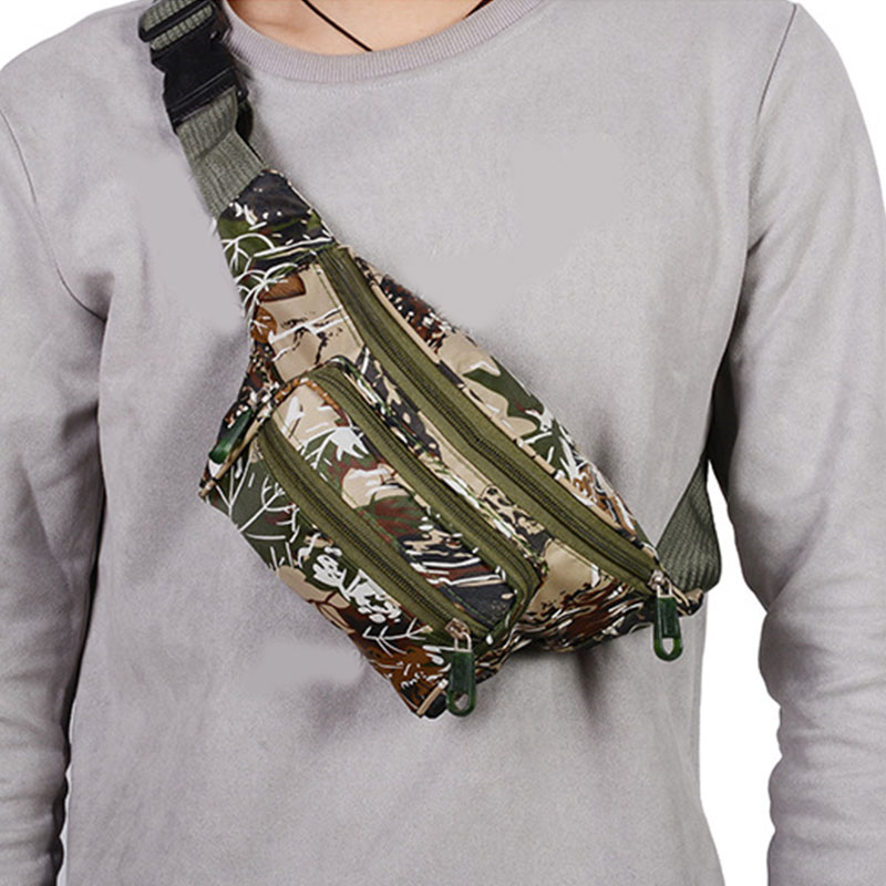 Fashion Print Camouflage Waist Bag Oxford Mobile Phone Chest Bag Multifunction Belt Bag Pillow Casual Wallet Travel Bags Unisex
