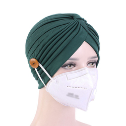 New Arrival Plain Chemo Hat Bandana Without/With Button Women Muslim Caps Solid Color Turban Head Wrap Headband Knotted Scarf