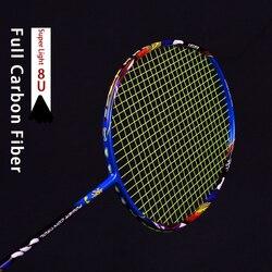 خفيفة 8U 62-65g كرة تنس ريشة من ألياف الكربون مضرب Strungs المهنية مضارب الهجومية G5 22-30lbs أكياس سلسلة المضرب الرياضة