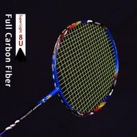 Ultraleve 8u 62-65g fibra de carbono raquete de badminton strungs profissional ofensiva raquetes g5 22-30lbs sacos corda esportes
