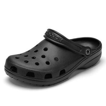 Сандалии мужские резиновые, обувь для сада и пляжа, тапки на плоской подошве, для влюбленных девушек, черные, лето 2020