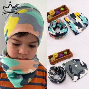 2Pcs/Lot Children Hat Scarf Set Nice Camo Print Cotton Baby Beanie Collar Winter Spring Baby Boy Girl Cap Kids Warm Hats Scarves