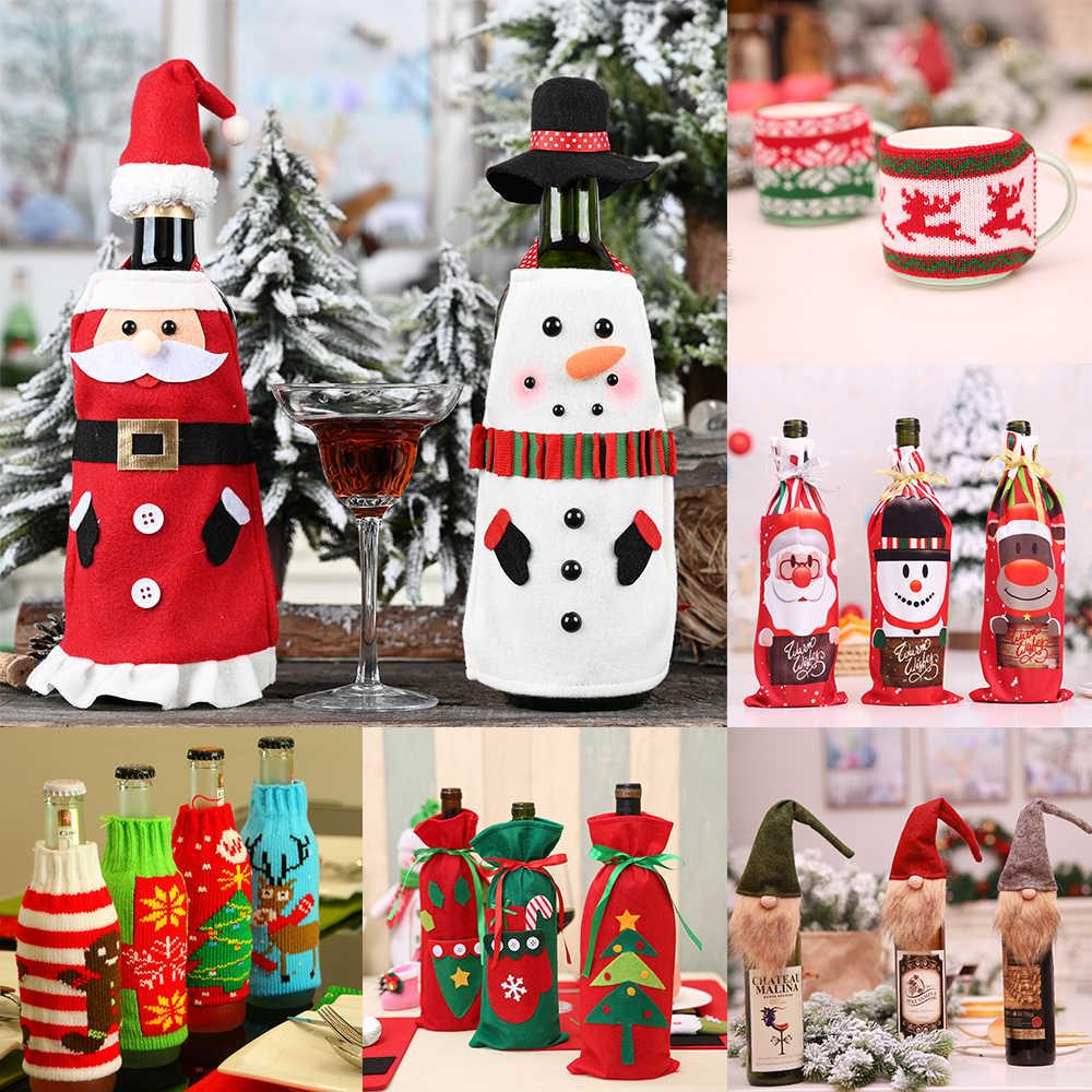 Decoraci/ón Hogar de la Mesa de Cena para Las Fiestas de Navidad Decoraci/ón Cubierta Botella Vino WELLXUNK/® Cubierta de la Botella de Vino de Navidad 2 Piezas Bolsas Botellas Vino Navide/ñas