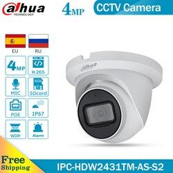 Dahua Original IPC-HDW2431TM-AS-S2 4MP H.264+/H.265+ WDR built-in Mic IP67 POE  Lite IR Fixed-focal Eyeball Network Camera