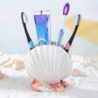 Titular de escova de dentes de resina criativa banheiro armazenamento de pasta de dentes titular de escova de cosméticos para decoração de casa-concha decoração de casa dropship