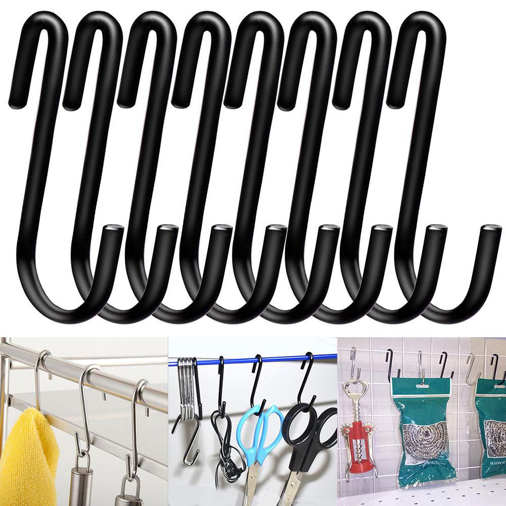 New 4 / 8Pcs S-shaped Stainless Steel Hook Kitchen Bathroom Hanger Household Multifunctional Metal Hook