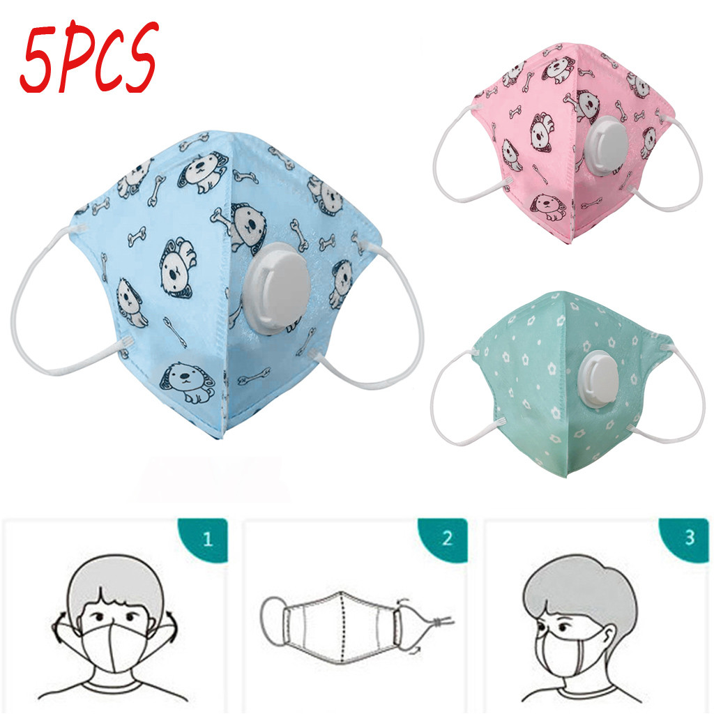5PCS Kids Washable Reusable Protective Masks Children's Seamless Cartoon Print Mouth Face Mask Anti Fog Haze PM2.5 Respirator