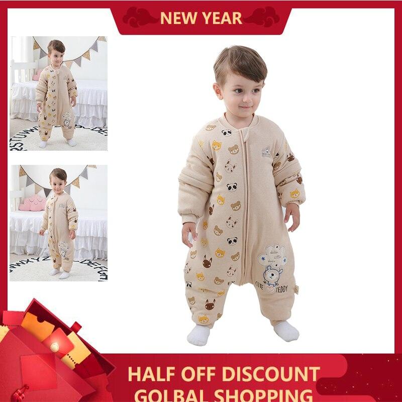 Kid Girl Boy Winter Sleeping Bag With Legs For Newborn 1 2 3 4 Year Old Cotton Warm Zipper Animal Picture Baby Sleepbag