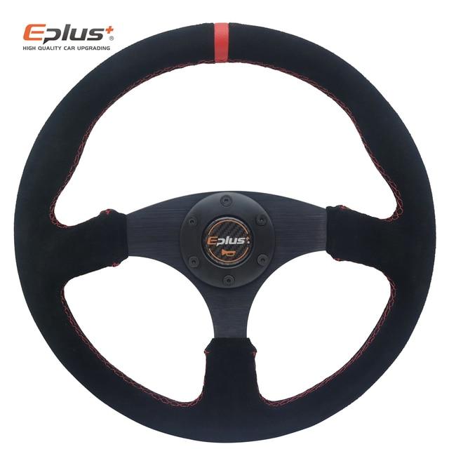 EPLUS Auto Styling Sport Lenkrad Alcanta PVC Universal 14 Inches350MM Aluminium Nachrüstung Geändert Rot GELB