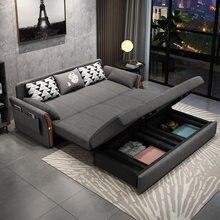 Madeira maciça multifuncional sofá cama sala de estar dupla finalidade dobrável nordic pano net vermelho pequena família economia