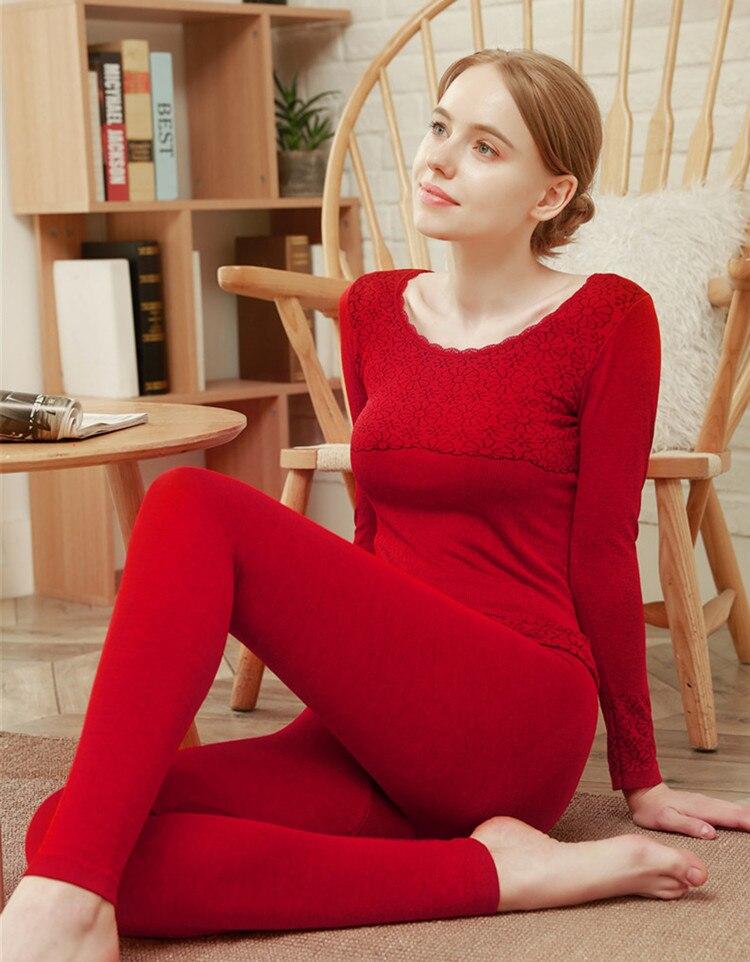 Autumn and winter women's thermal underwear set dark pattern autumn clothes 2021 women's seamless body shaping underwear