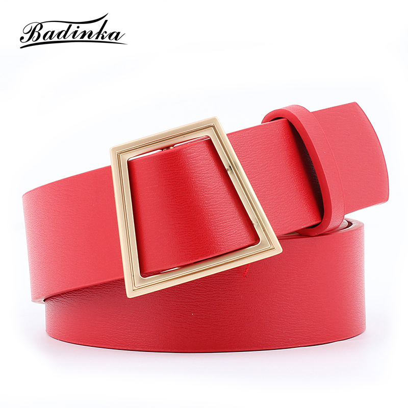 Badinka 2020 New Designer Black Red Pink Yellow White Wide Corset Leather Waist Belt Female Gold Buckle Belts For Women Dress