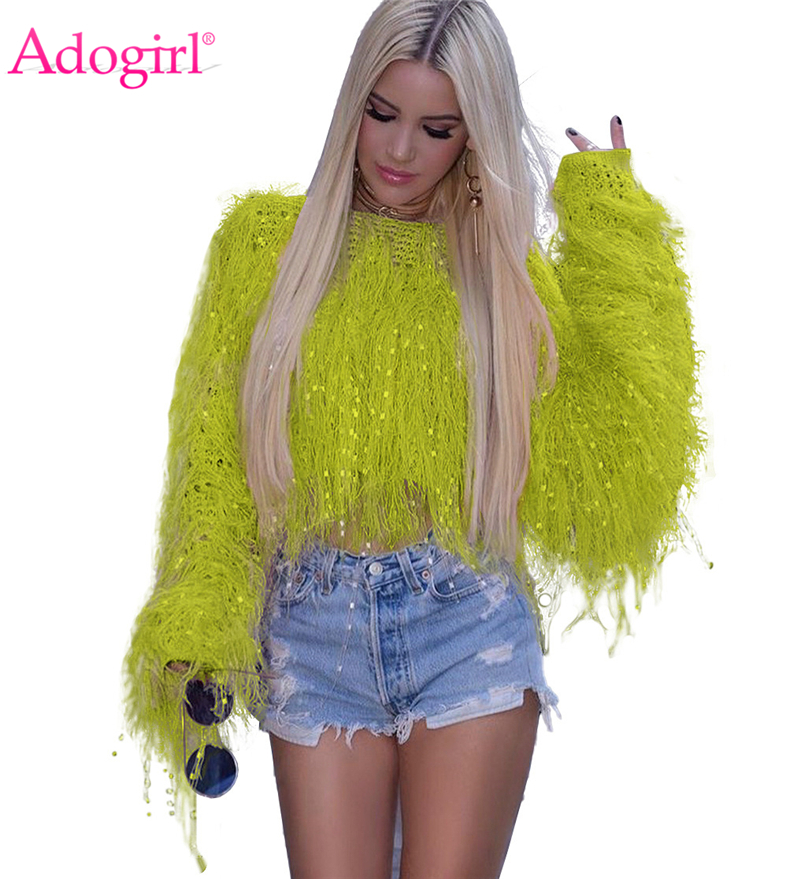Adogirl Solid Fashion Tassel Sweater 2019 Autumn Winter Hand Knitted Pullover Top Female Casual Loose Women Jumper Outerwear