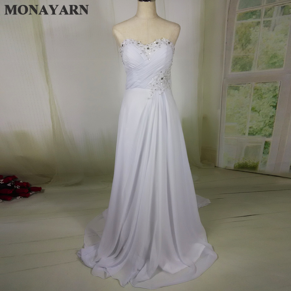 Free shipping Stock Cheap Chiffon Beach China ball gown Elegant Backless Bridal Dress Plus Size 2015 a line Wedding Dresses 2016
