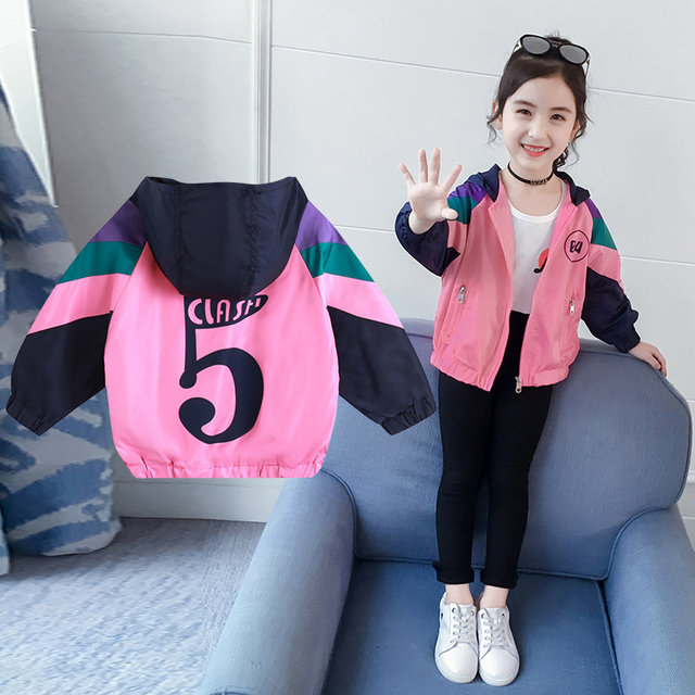 Kids Girls Patchwork Color Numbers Printed Windproof Coat Outerwear Casual Clothes Spring and Autumn Kids Clothing 4 6 8 10 12Y