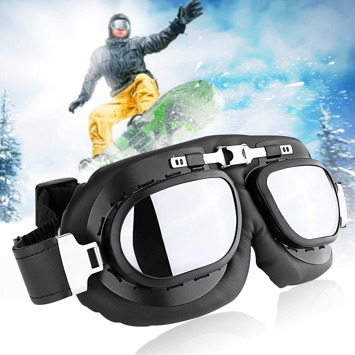 Windproof Motorcycle Riding Goggles Retro PC Lens Motorbike Ski Bike Glasses Motocross Classic Goggles For Harley Cafe Racer|Motorcycle Glasses| |  - title=