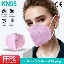 10-200 pces kn95 rosa rosto máscaras ffp2 anti pm2.5 poeira boca máscara filtro respirável segurança protetor respirador kn95 mascarillas