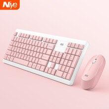 Rosa teclado sem fio e mouse combinação usb 2.4ghz teclados mouse conjunto para windows linux keycap acessórios do teclado do jogo de escritório