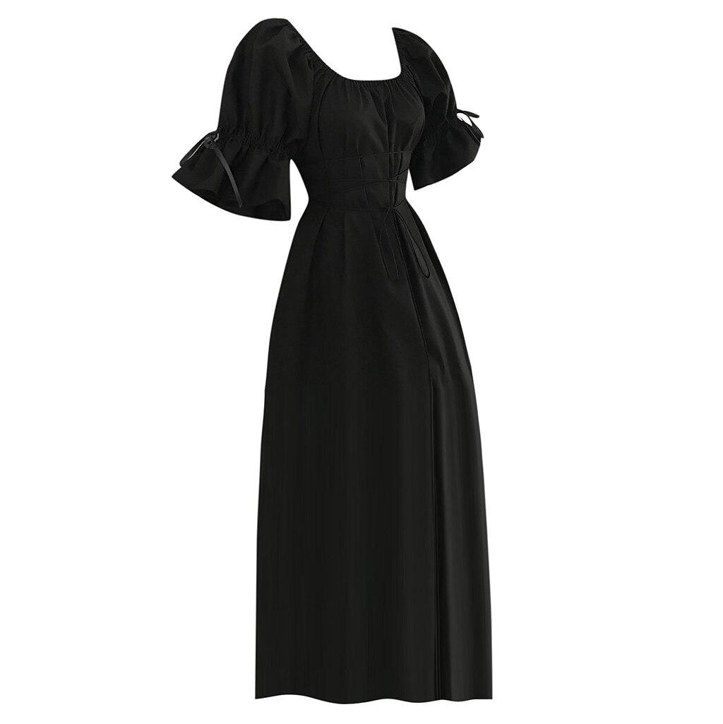 Dress Fashion Women s Vintage Short Petal Sleeve O Neck Medieval Dress Cosplay Century retro Dress