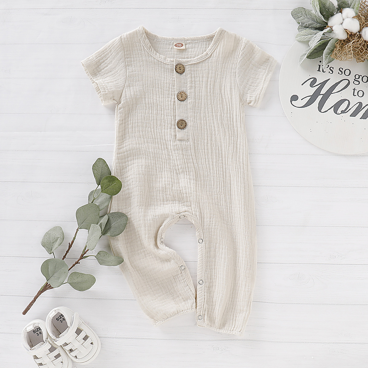 New arrivals Summer Infant Baby Boys Girls   Rompers   Short Sleeve O-Neck Ruffles Solid   Romper   Toddler Cotton Jumpsuit outfits