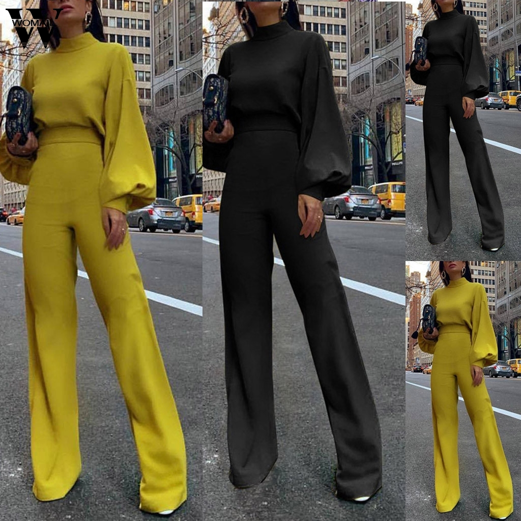 Womail Jumpsuit Women Elegant Long Sleeve Fashion Solid Long Jumpsuit Romper Loose Overall Wide Leg Playsuit Workwear Holiday823