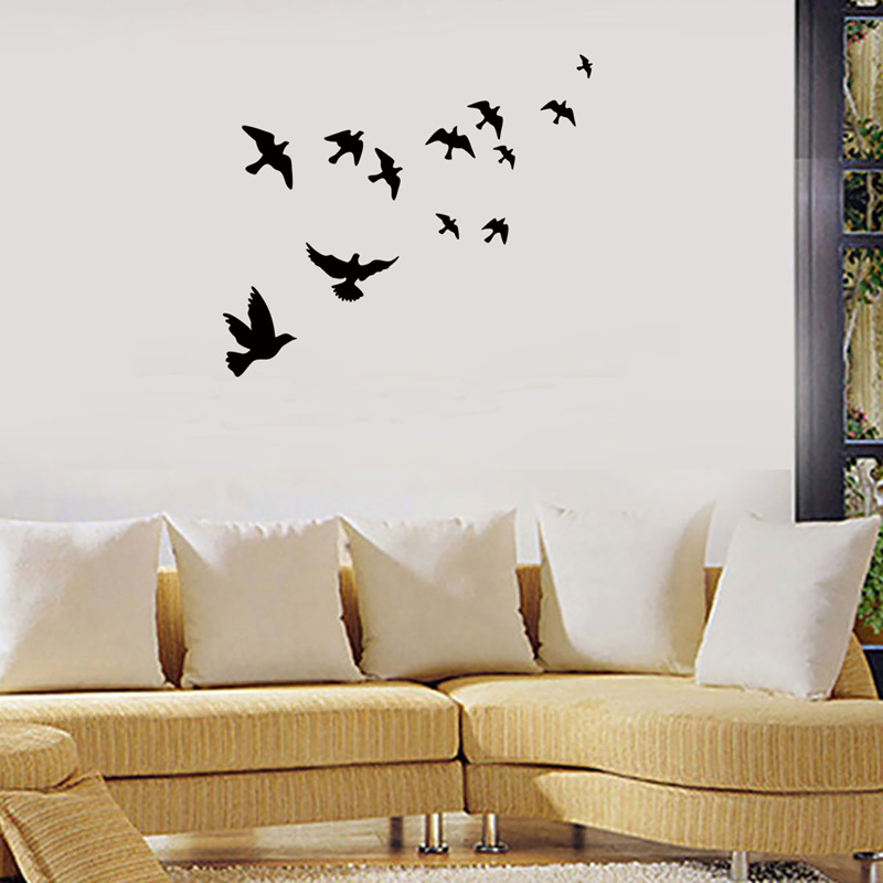 Group of birds Wall Sticker Black carved PVC Living room Sofa TV background decoration Mural Decals art stickers wallpaper