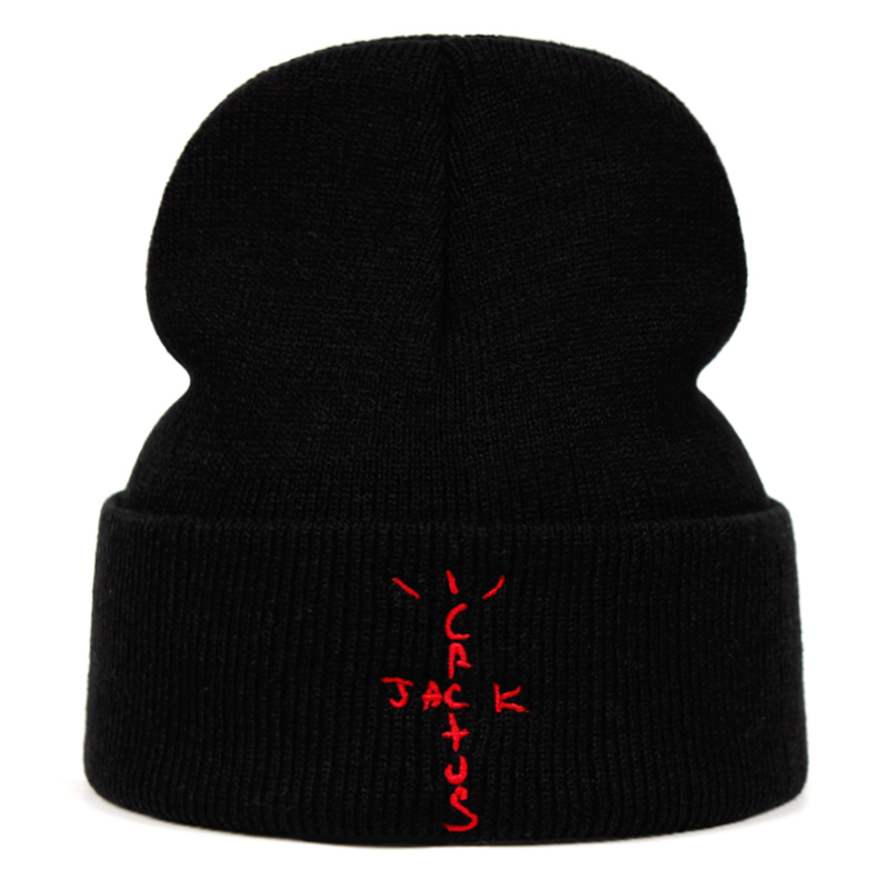 jack cactus   Beanie   Travis Scott Cotton Embroidery Winter Hat Knitted Hat   Skullies     Beanies   Hat Hip Hop Knit Cap