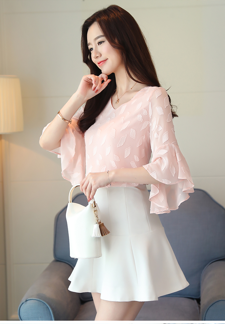 Dingaozlz Flare sleeve Women shirt New Fashion Summer Tops Korean Ruffles Chiffon blouse Casual clothing Blusa Women Women's Blouses Women's Clothings