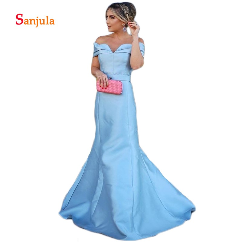 Off the Shoulder Elegant Special Occasion   Dresses   Mermaid Satin Blue   Evening     Dresses   Gowns 2019 Pleats Formal   Dresses   D1115