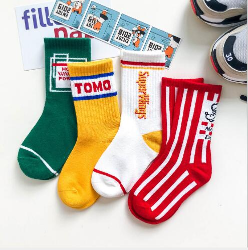 3-12 Year 4 Pairs Pack Children's Socks Autumn And Winter New Vertical Stripes Letters For Boys And Girls Tube Socks