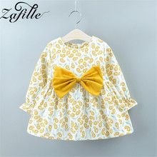 ZAFILLE Cute Summer Dress For Girl Long Sleeve Baby Girl Clothes Bow Floral Printed Kids Clothes Summer Princess Girls Dress