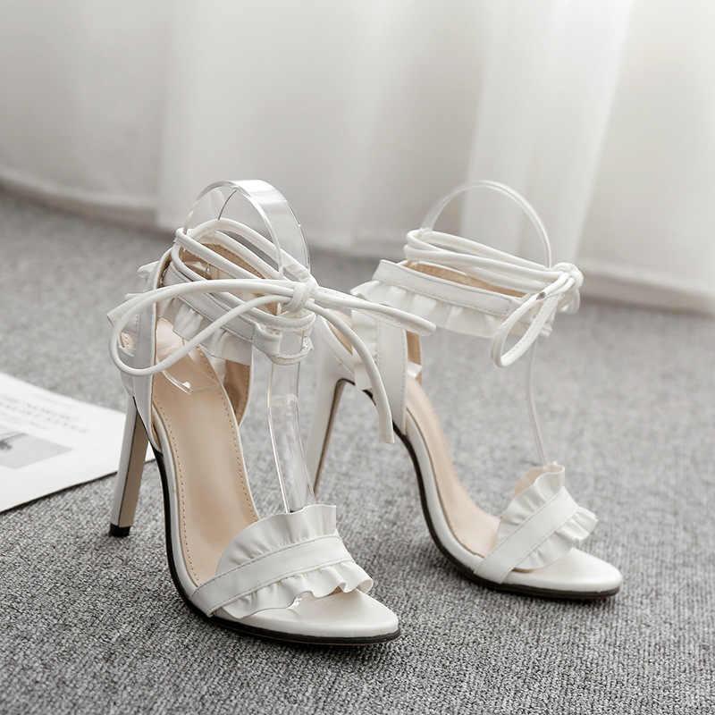 Sexy Vrouwen Pompen Bruids Schoenen Vrouw Hoge Hakken Bloemen Witte Schoenen Lace Up Peep Toe Dames Sandalen Klassieke Pompen 2020