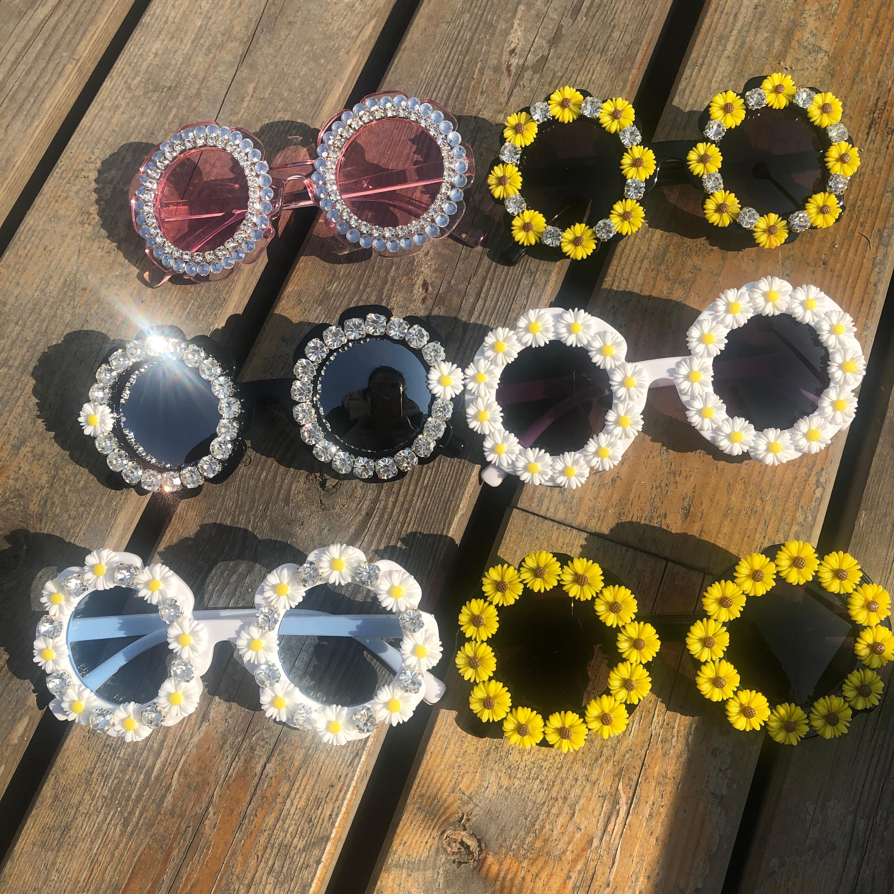 ZAOLIHU Round Kids Diamond Sunglasses Gorgeous Handmade Children Eyewear UV400 Summer Shades Gafas Mirror Lens  Flower Eyeglass