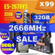 Atermiter X99 PC4 REG ECC 마더 보드 메인 보드 콤보 Xeon E5 2678 V3 CPU E5 2678V3 2pcs X 16GB = 32GB 2666MHz DDR4 메모리