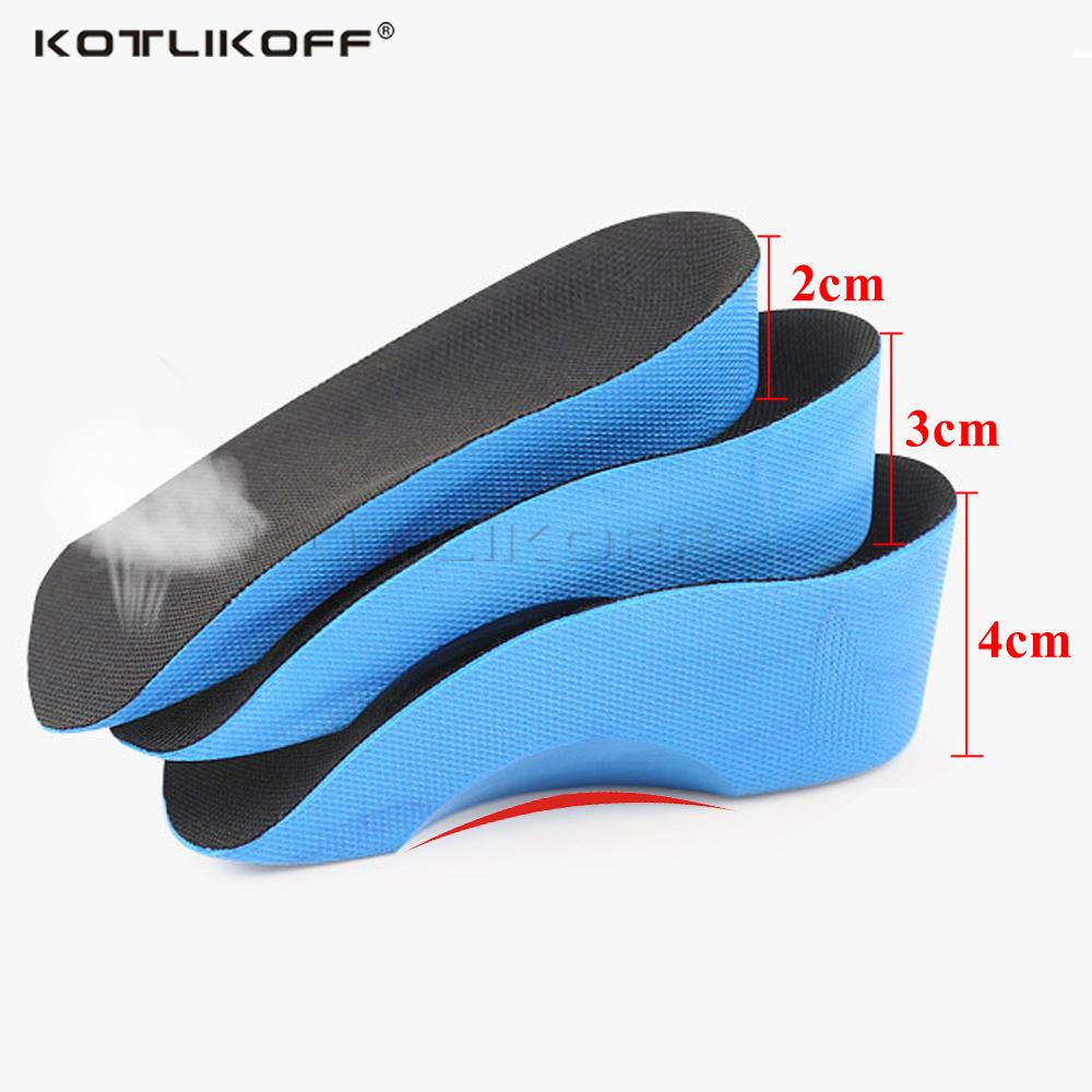 KOTLIKOFF Height Increase Insole 2/3/4cm Height Lift Shoe Heel Cushion Insert Taller Heel Pad Elevator Insoles Foot Pads Unisex