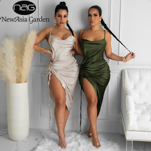 NewAsia Ruched Satin Summer Dress Drawstring Spaghetti Straps Cowl Neck Backless Long Dresses for Women Party Sexy Vestidos 2020