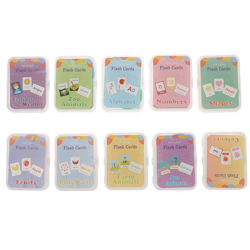 26 cartas Flash inglés tarjeta escrita a mano Montessori desarrollo temprano juguete educativo de aprendizaje para niños chico regalo con hebilla
