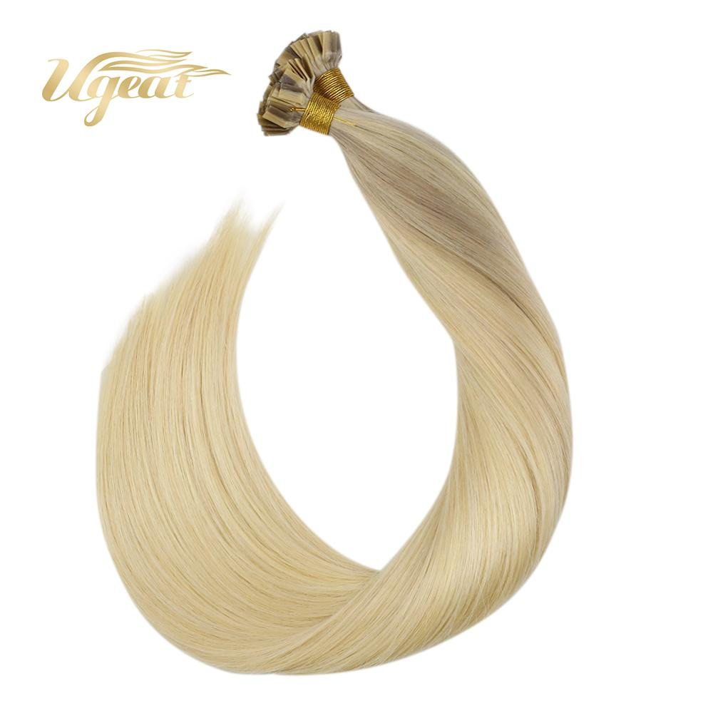 """Ugeat Flat Tip Hair Extensions Brazilian Human Hair Extensions Blond Color 14-24"""" Straight Non-Remy Keratin  Fusion Hair 50-100G"""