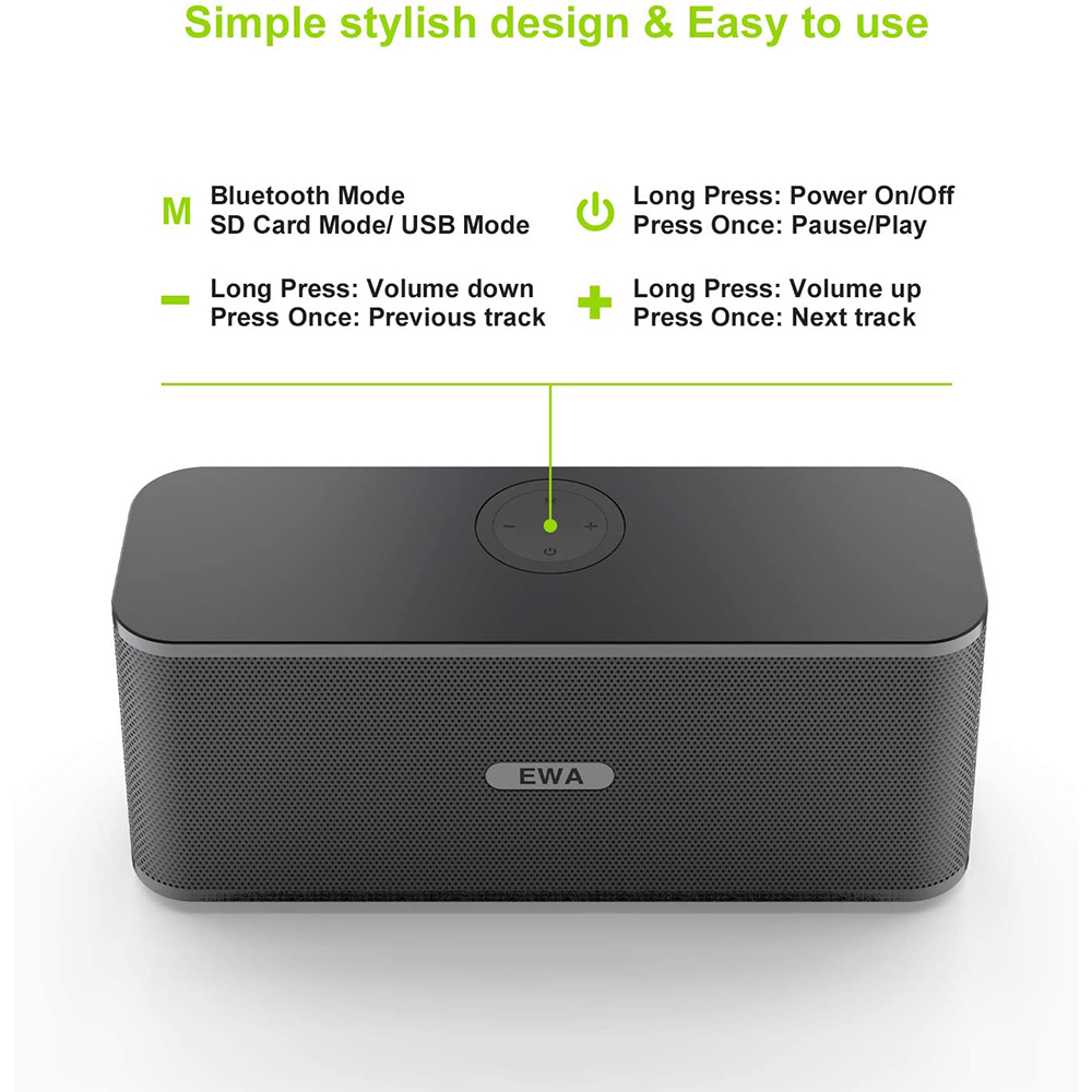 EWA W300 Bluetooth Speakers 2*6W Drivers Loud Stereo Sound 4000mAh Battery Wireless Portable Speaker For Travel Outdoor Party 4