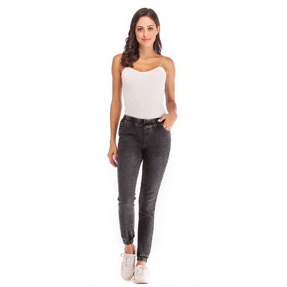 Jeans for Women Mom Jeans Mid Waist Jeans Woman High Elastic Plus Size Stretch Jeans Female Washed Denim Skinny Pencil Pants#B 2