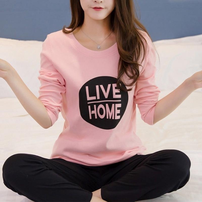 GAOKE 2 PCS Sets 2020 Autumn Women Nightwear Sets Casual Letters Print Long Sleeve Pajamas Home Clothes Tops+pants Suit