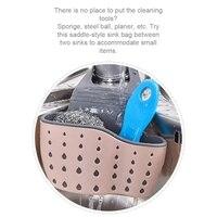 Kitchen Plastic Sink Caddy Hanging Sponge Holder Basket Storage Bag With Adjustable Strap