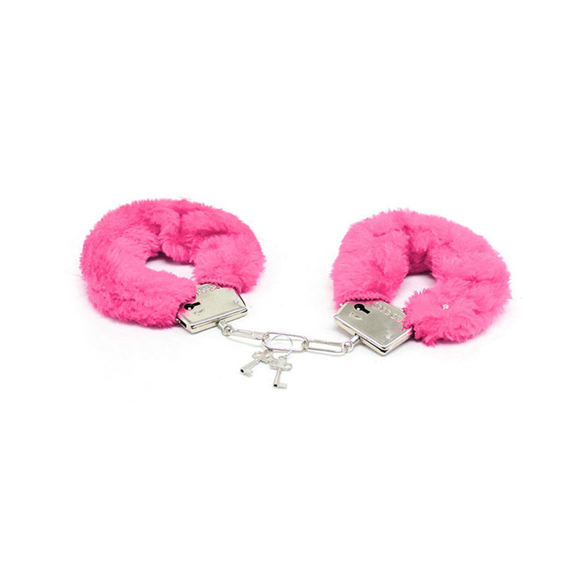 Sex Bondage Metal Fuzzy Handcuff Sex Toy Plush Handcuff