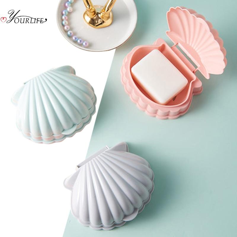 OYOURLIFE Creative Portable Shell Shape Soap Box Bathroom Drain Soap Holder Travel Soap Protect Case Bathroom Accessories