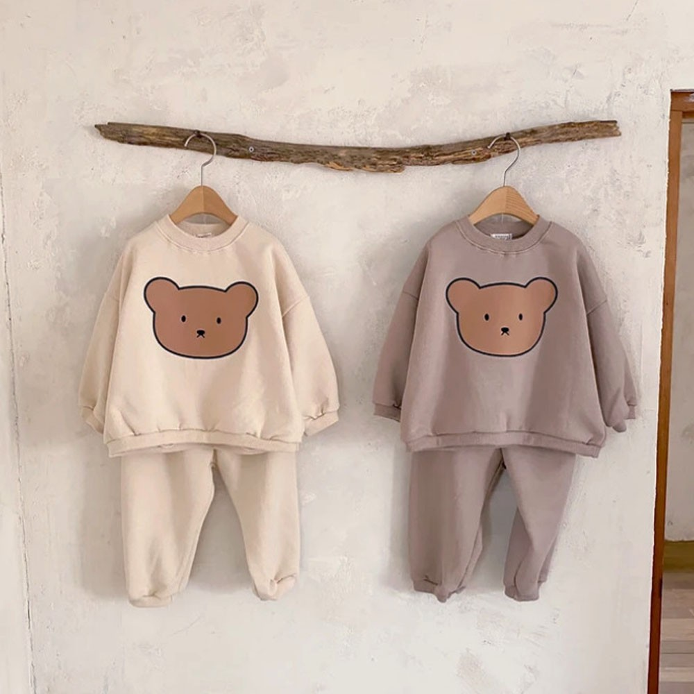 894.0¥ 64% OFF|Autumn Baby Girl Clothes Set Infant Kids Cartoon Bear Print Tops And Pants Suit Todd...